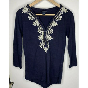 Lucky Brand Womens Embroidered Shirt Small Navy